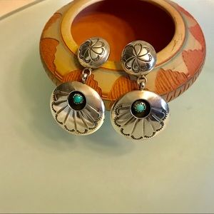 Native American Turquoise Dangle Sterling Earrings